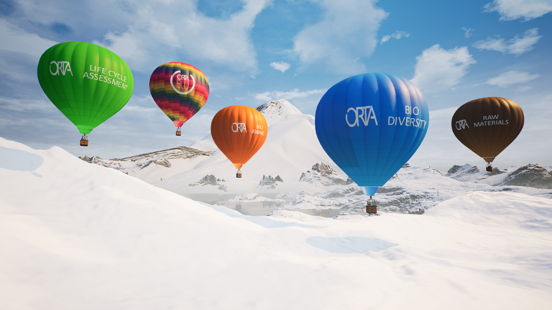 """Before guests """"take flight,"""" they must select one of five hot-air balloons for their tour, with each one featuring different collections, materials and offerings."""