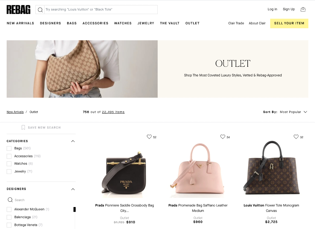 """The online outlet site is part of the Rebag.com site, and purchases at up to 80 percent off retail are considered """"final sale."""""""