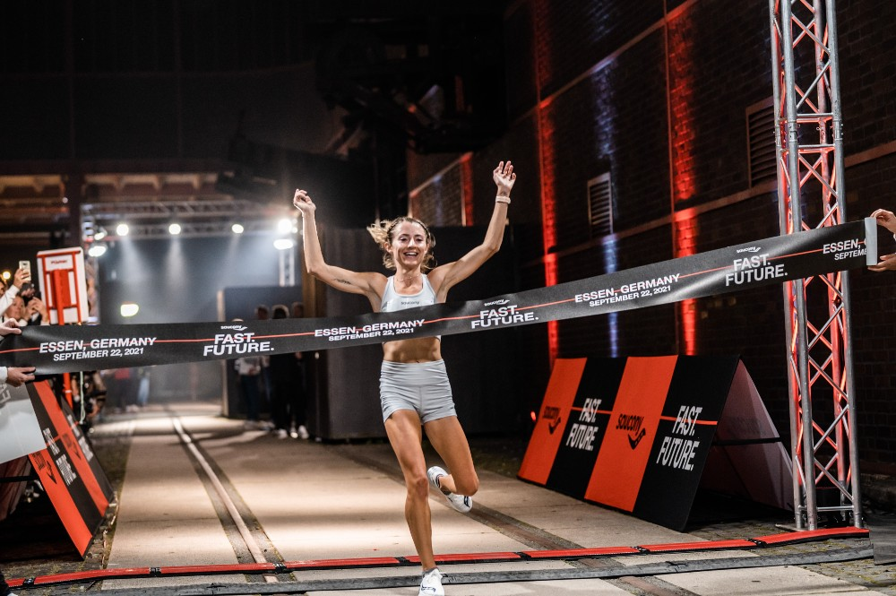 Grayson Muphy of the United States finished first among the women racing at Saucony's Endorphin Pro+ event in Essen, Germany
