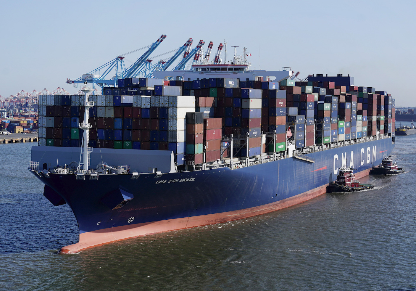 A container ship leaves the Port of New York and New Jersey in Elizabeth, N.J., Wednesday, June 30, 2021.