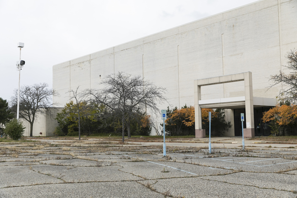 An abandoned storefront at the now closed Summit Point Mall in Waterford Township, Michigan