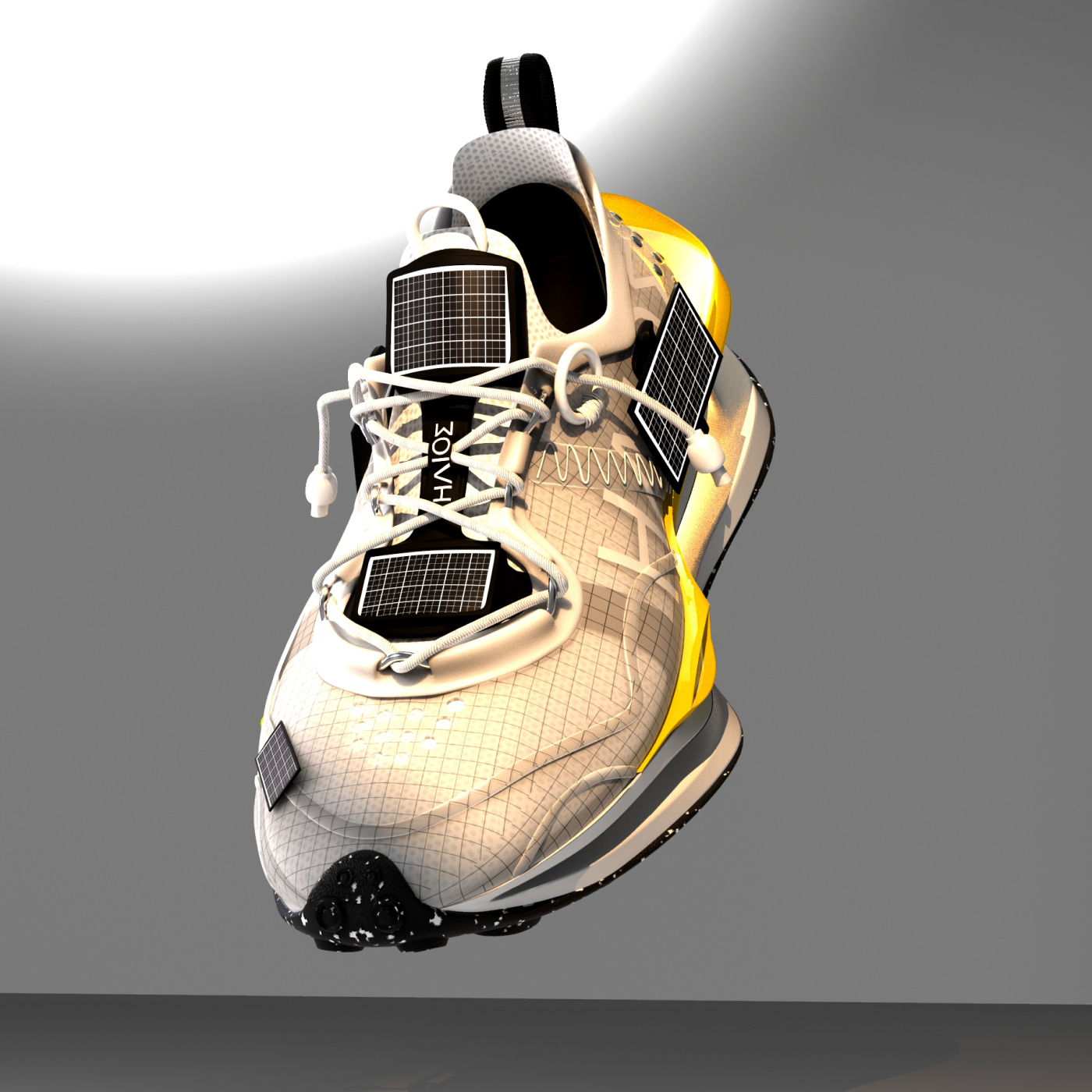 """""""Helios"""" is the first NFT sneaker offered by Futures Factory. The silhouette was designed by Robert Quach."""