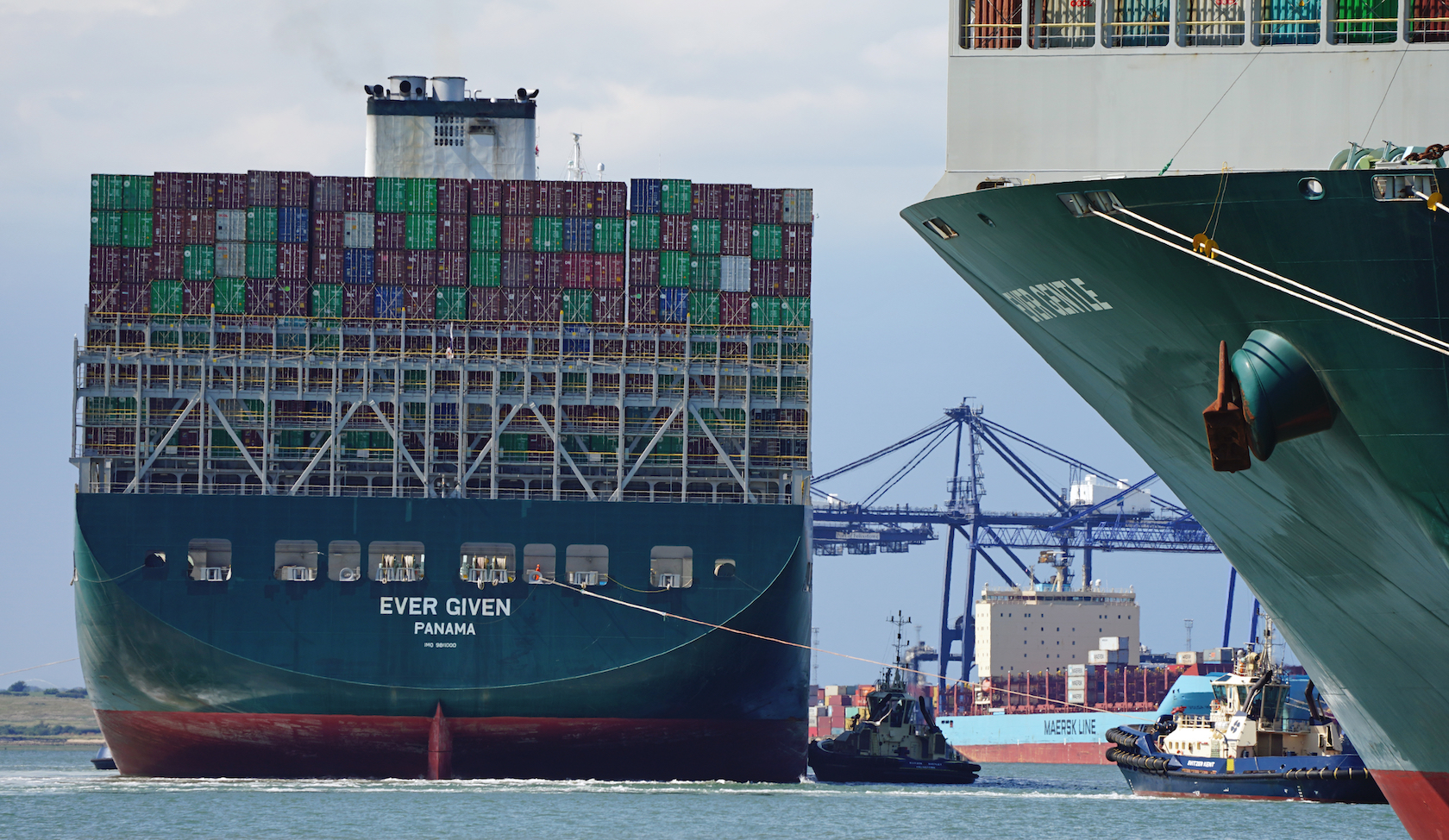 The container ship Ever Given, chartered and operated by container transportation and shipping company Evergreen Marine, seen here arriving at the Port of Felixstowe.